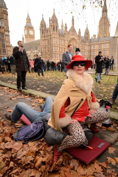 A Bizarre Face Sitting Protest outside British Parliament