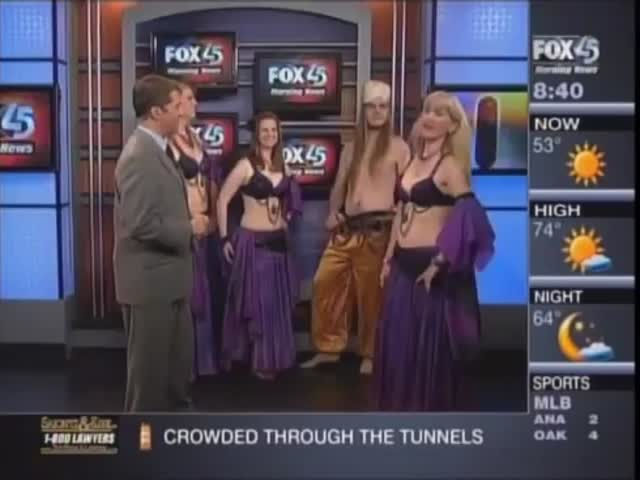 Guy Finds Himself to Belly Dance on Live TV While He Was There for a Sword Dancing Lesson!  (VIDEO)