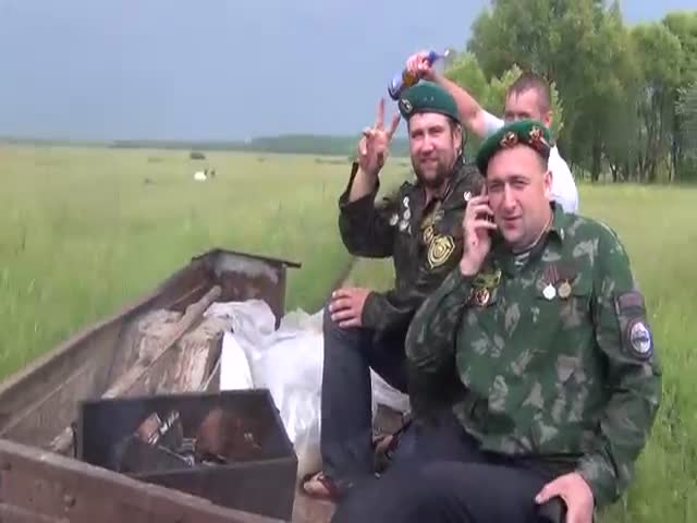 Russian Border Guards BBQ on Wheels Fail  (VIDEO)