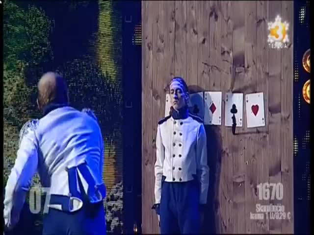 World's Worst Knife Thrower Injures Assistant Twice on 'Lithuania's Got Talent'  (VIDEO)