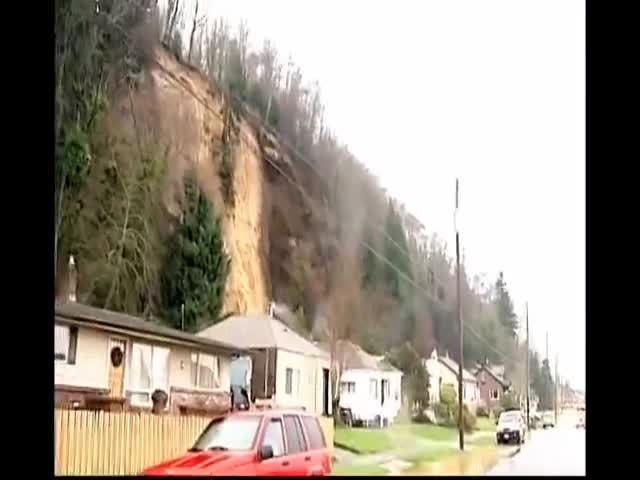 Landslide Moves an Entire House Several Feet Closer to the Road