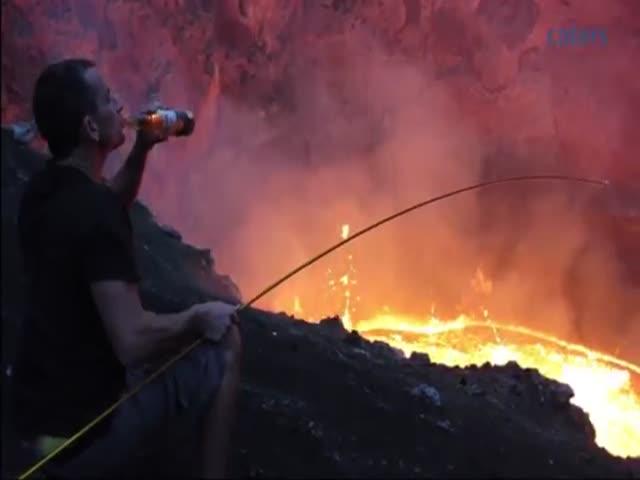 Daredevil Roasts Marshmallows Over a Volcano