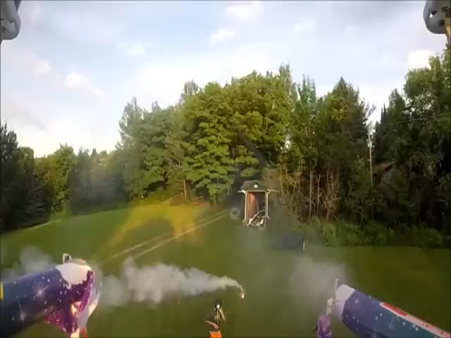 Guy Uses Friend as Human Target to Shoot Roman Candles from His Drone