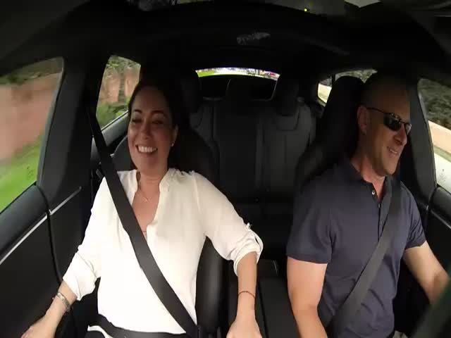 Passengers' Reaction to the New Tesla Car's 'Insane Mode' Acceleration