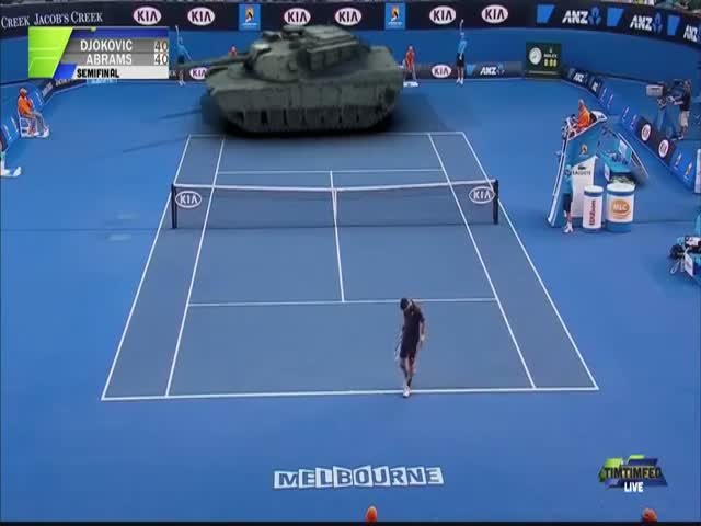 Djokovic Plays Tennis against a Tank