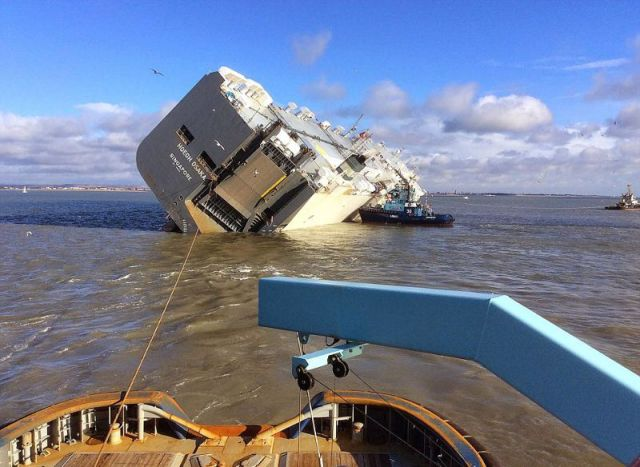 A Transport Ship Tips Over at Sea
