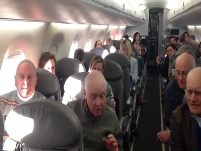 Barbershop Quartet Sings on Plane during Flight Delay