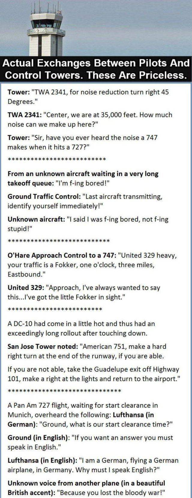 Real Conversations between Pilots and Air Traffic Controllers