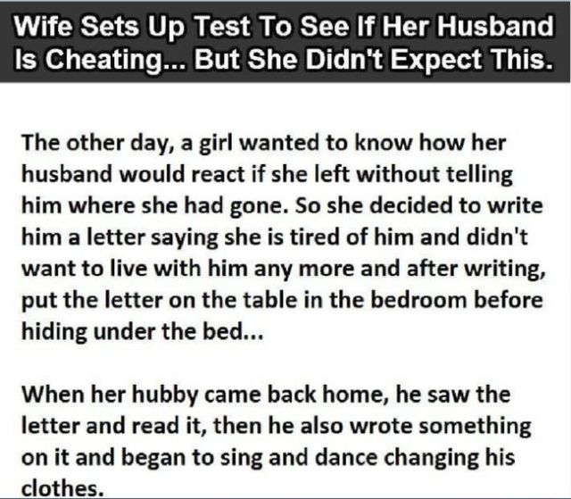Husband Is Put to the Cheating Test and the Result Is Hilarious