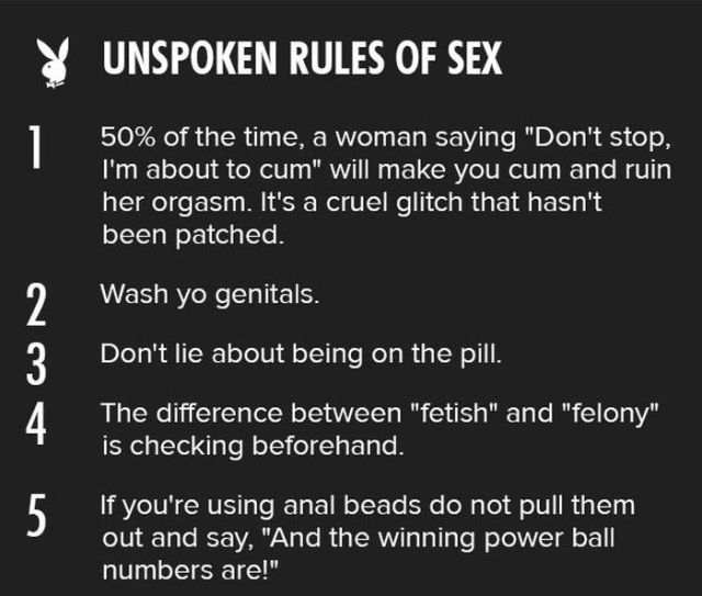 Playboy's Guide to Sex Rules That Go without Saying