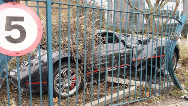 Driver Crashes His Friend's $1.5 Million Luxury Car into a Fence