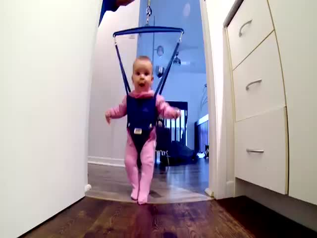 Baby Think She's an Irish Dancer in Her Jolly Jumper  (VIDEO)