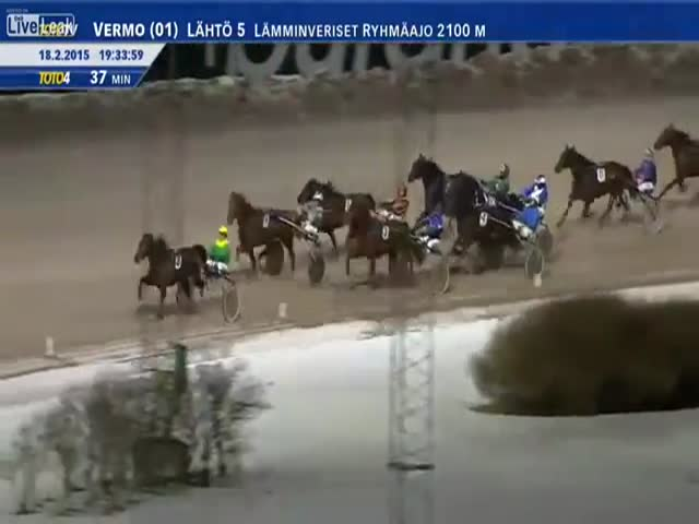 Racehorse Runs over Photographer Taking Pictures of a harness Race  (VIDEO)