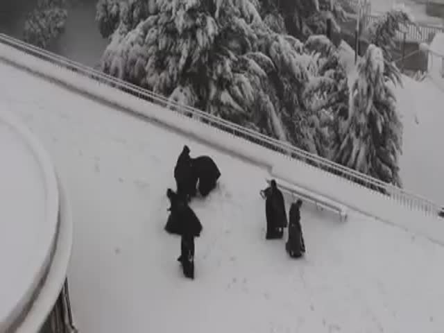 Snow Fight between Monks in Jerusalem