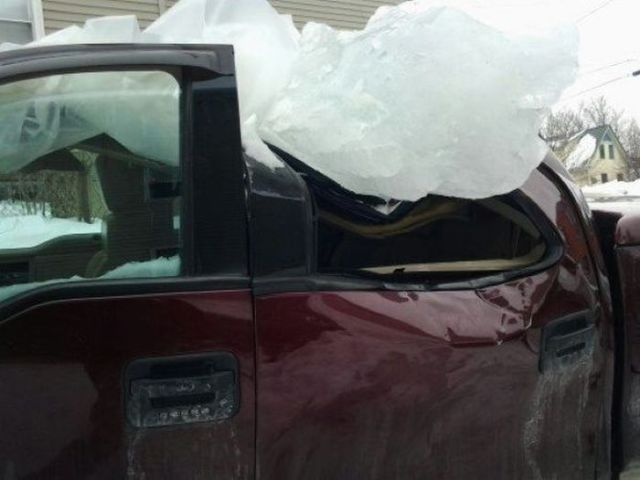 Truck Falls Victim to a Winter Storm in Boston