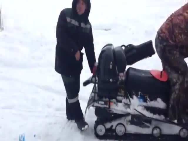 Man Gets Devoured by Snowmobile