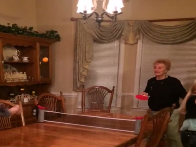 Grandma Plays Ping Pong and Things Go Wrong  (VIDEO)
