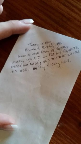 Waitress Gets a Tip with a Touching Story Attached