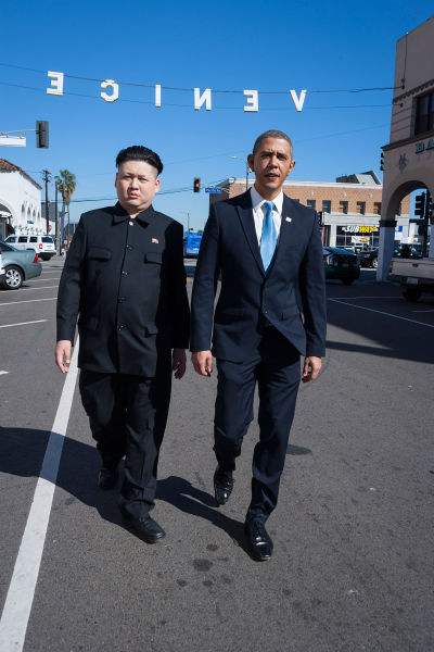 Impersonators of Obama and Kim Jong-un Hanging Out Together in LA