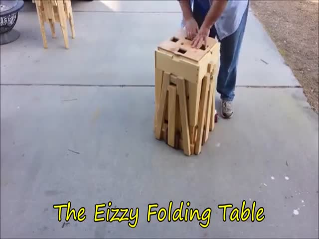 Check Out This Clever Portable Folding Table  (VIDEO)