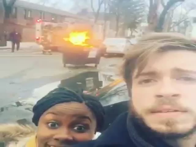 Guy Filming Dumpster Fire Gets Surprised by Firefighters