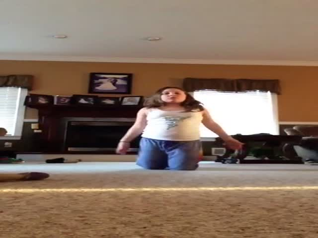 Girl Does Gymnastics in the Living Room When Suddenly...