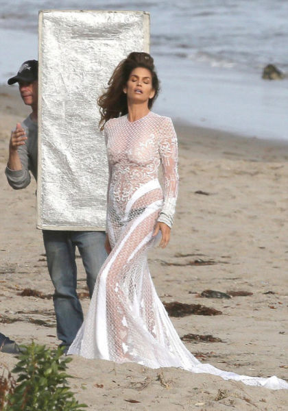 Cindy Crawford Goes Braless on the Beach