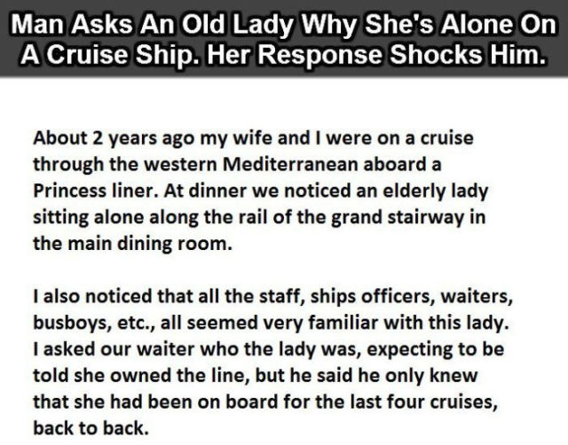 A Witty Old Lady's Amusing Response to Why She Is Taking a Cruise Alone