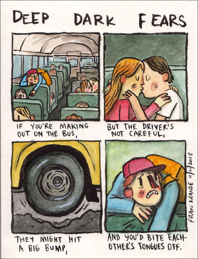 Funny and Disturbing Cartoons of People's Top Terrifying Fears