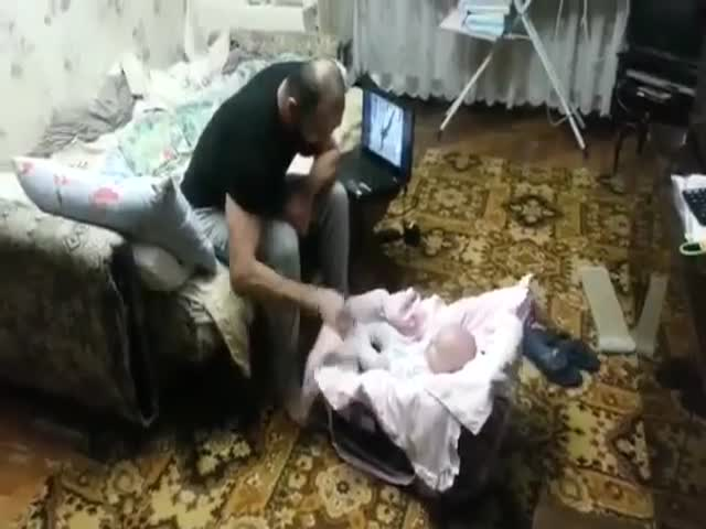 Cat Protects Baby from