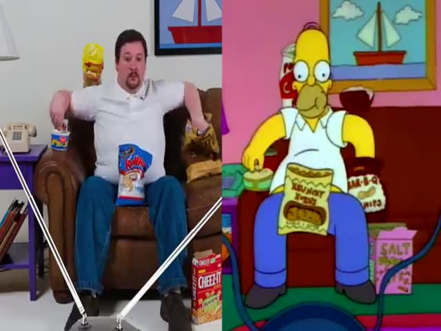 Man Perfectly Recreates Homer Simpson Eating  (VIDEO)