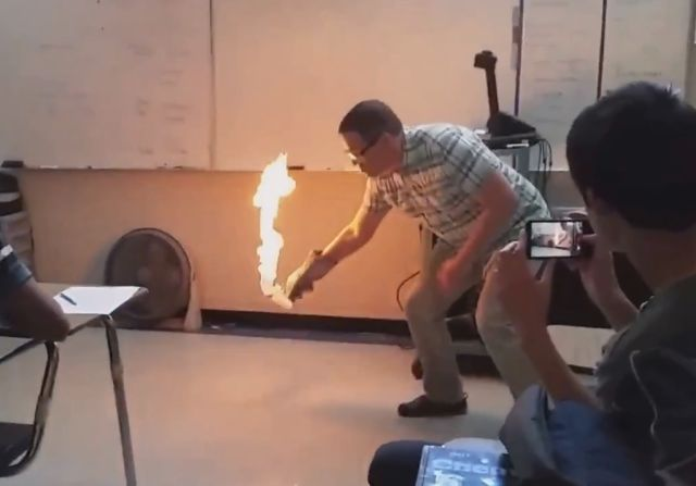 Chemistry Teacher Sets Classroom Floor on Fire