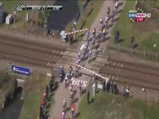 Bike Race Gets Interrupted by a Train