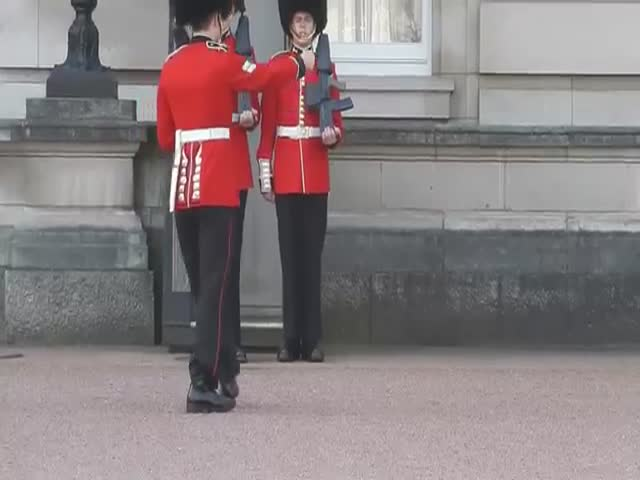 Buckingham Palace Guard Slips and Falls in Front of Tourists  (VIDEO)