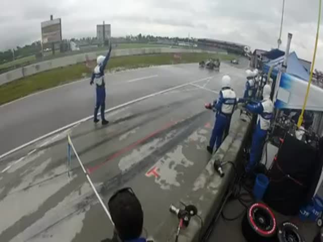 Mechanic Gets Slammed by an Out-of-Control Indycar  (VIDEO)