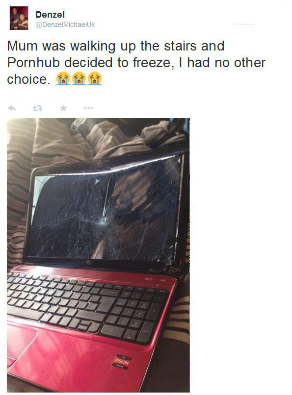 Man Trashes His Computer to Hide His Recent Pornhub Activity and Pornhub Responds in the Best Way Possible