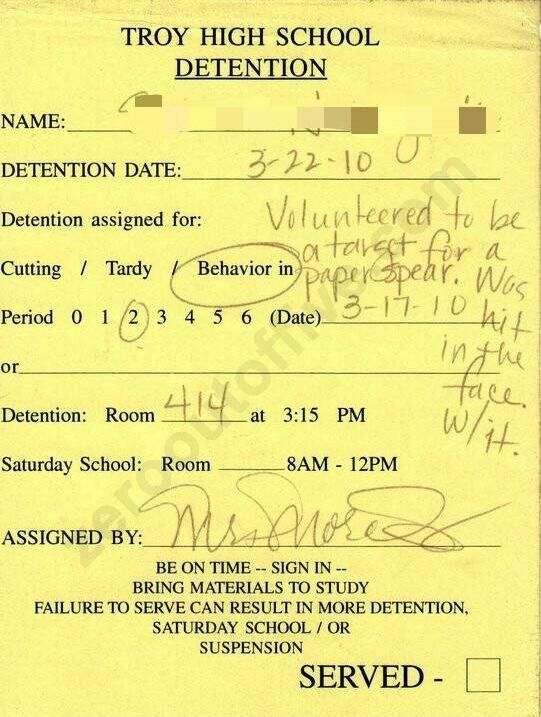 The Funniest Detention Slips Students Have Actually Received