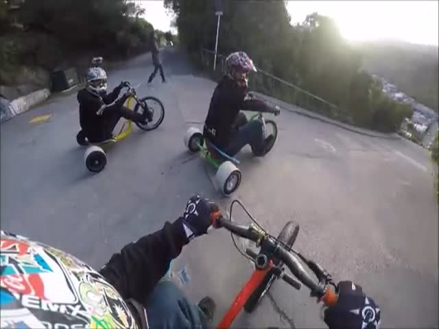 Trike Drifting Down the Steepest Street in the World