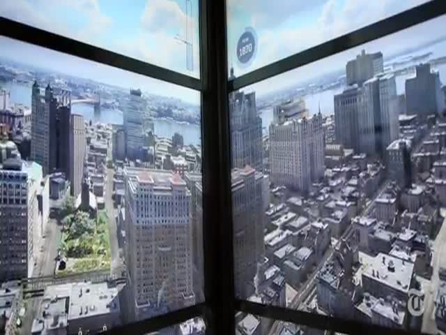 The Evolution of the NYC Skyline Seen from One World Trade Center Elevator
