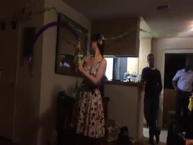 Girl Performs an Amazing Party Trick