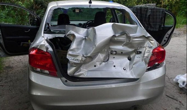Car Is Destroyed While Family Takes a Nap