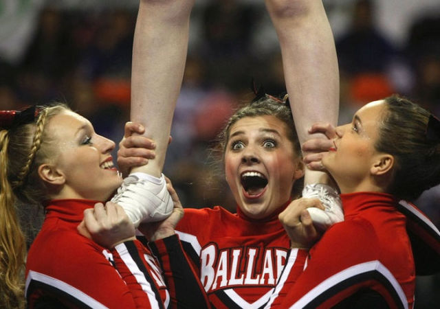 """Cheerleaders Don't Always Have Perfectly """"Cheery"""" Faces"""
