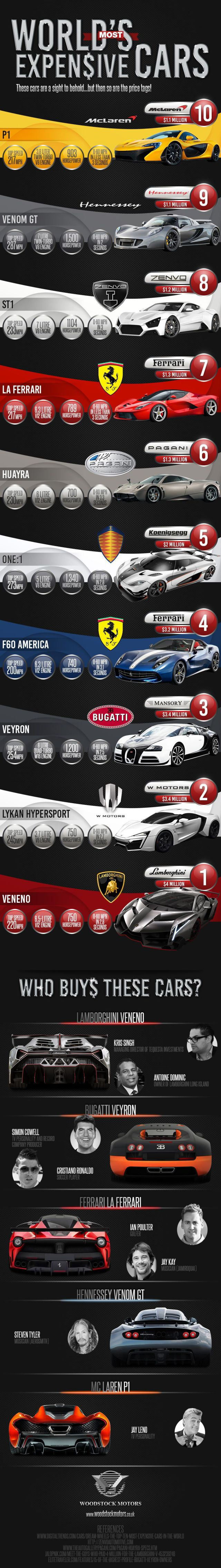 Most Expensive Cars in the World Infographic