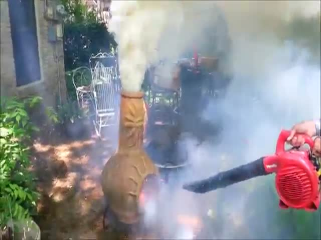 This Is What Happens When You Use a Leafblower on a Chimenea  (VIDEO)