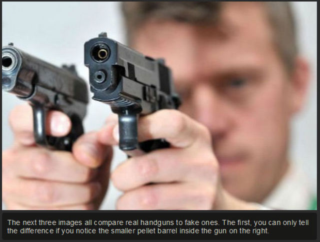 An Interesting Photo Comparison of Real Guns vs. Fake Guns