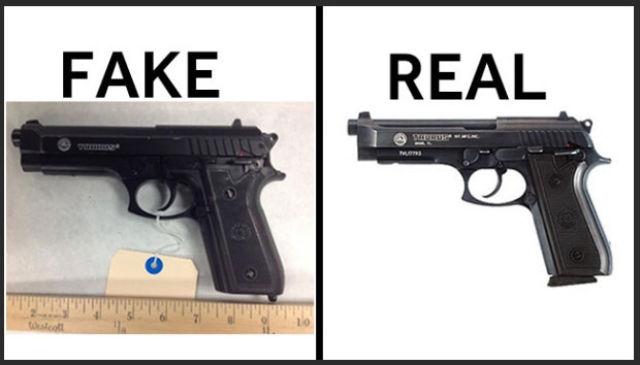 An Interesting Photo Comparison of Real Guns vs. Fake Guns