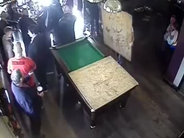 Pool Table Goes Away, Guy Didn't Notice...  (VIDEO)