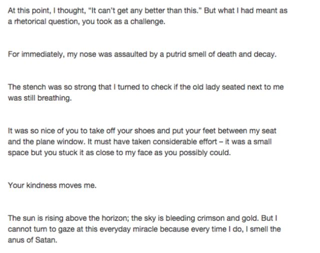An Amusing Open Letter to the Passenger from Hell Goes Viral