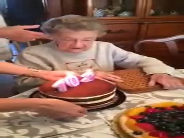 102-Year-Old Grandma Blows Out Birthday Candles When...