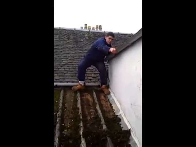 Scottish Man's Rant about Putting His Weight on a Roof  (VIDEO)
